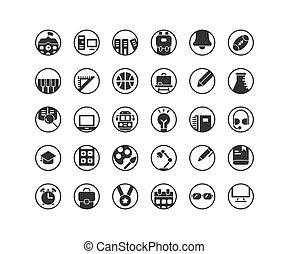 educação, sólido, set., ícone