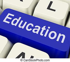 educação, tecla, meios, ensinando, ou, treinamento