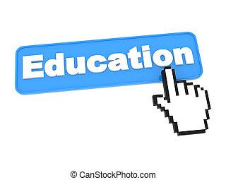 educação, teia, button.