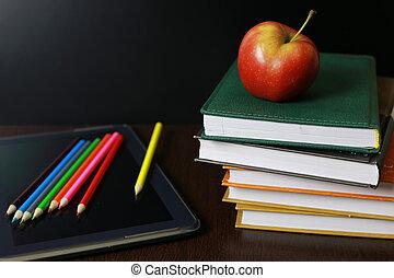 educação, um, maçã, e, livros