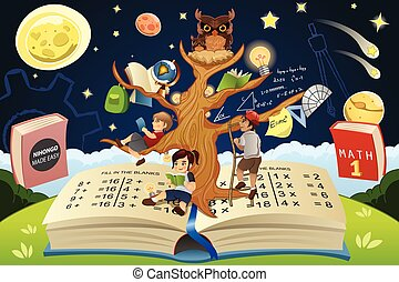 educación, árbol, concepto