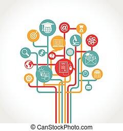 educación, árbol, en línea