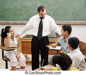 educación, actividades, en, aula, en, escuela, feliz, niños, aprendizaje