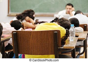 educación, actividades, en, aula, en, escuela, sueño, todos