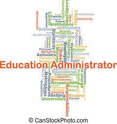educación, administrador, plano de fondo, concepto