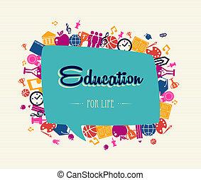 educación, back to la escuela, social, burbuja, global, icons.