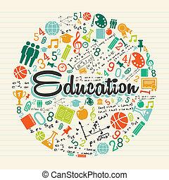 educación, círculo, colorido, icons.