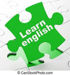 educación, concept:, aprender, inglés, en, rompecabezas, plano de fondo