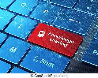 educación, concept:, cabeza, con, engranajes, y, conocimiento, compartir, en, ordenador teclado, plano de fondo