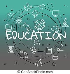 educación, concept., diferente, línea fina, iconos, included