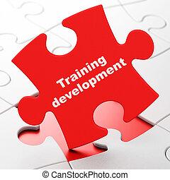 educación, concept:, entrenamiento, desarrollo, en, rompecabezas, plano de fondo