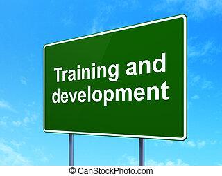 educación, concept:, entrenamiento, y, desarrollo, en, señal