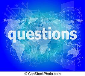 educación, concept:, palabras, preguntas, en, fondo digital