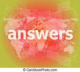 educación, concept:, palabras, respuestas, en, fondo digital