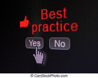 educación, concept:, pulgar up, icono, y, mejor, práctica,...