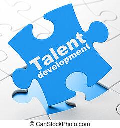 educación, concept:, talento, desarrollo, en, rompecabezas, plano de fondo