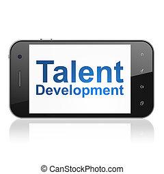 educación, concept:, talento, desarrollo, en, smartphone