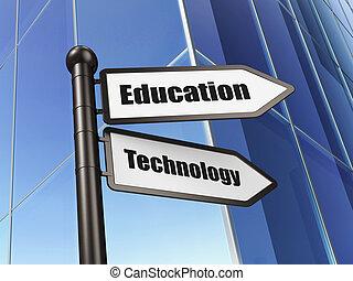 educación, concept:, tecnología de educación, en, edificio,...