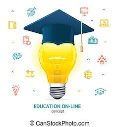 educación, concept., vector