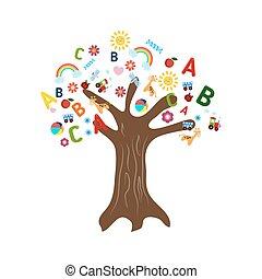 educación, concepto, árbol