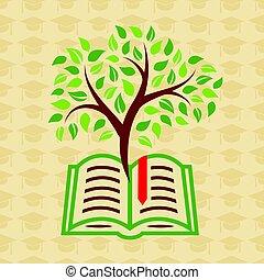 educación, concepto, con, libro, y, árbol