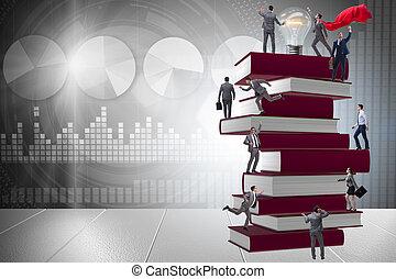 educación, concepto, con, libros, y, gente