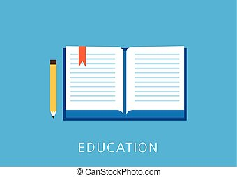 educación, concepto, plano, icono