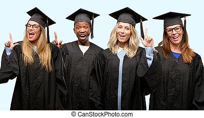 educación, concepto, universidad, graduado, mujer y hombre, grupo, señalar, lejos, lado, con, dedo