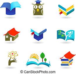 educación, conjunto, educación, icono