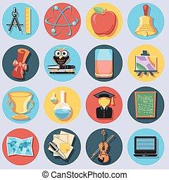educación, conjunto, iconos