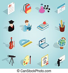 educación, conjunto, iconos, isométrico, 3d, estilo