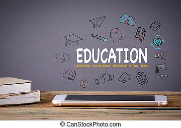 educación, conocimiento, y, tecnología, concepto