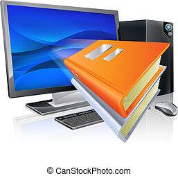 educación, e- aprendizaje, computadora, libro, concepto