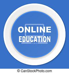 educación en línea, azul, plano, diseño, moderno, tela, icono