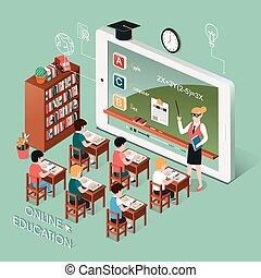 educación en línea, con, tableta
