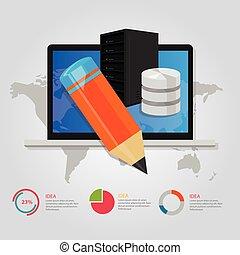 educación en línea, e- aprendizaje, tecnología, mundial, internet, servidor, base de datos, lápiz