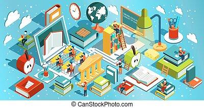 educación en línea, isométrico, plano, design., el, concepto, de, aprendizaje, y, lectura, libros, en, el, biblioteca, y, en, el, classroom., universidad, studies., vector, ilustración