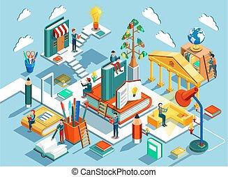 educación en línea, isométrico, plano, design., el, concepto, de, aprendizaje, y, lectura, libros, en, el, biblioteca, y, en, el, classroom., vector, ilustración