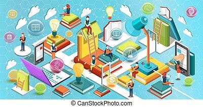 educación en línea, isométrico, plano, design., el, concepto, de, lectura, libros, en, el, biblioteca, y, en, el, classroom., concepto, de, education., aprendizaje, process., universidad, studies., vector, ilustración
