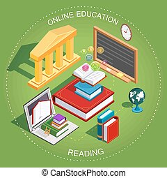 educación en línea, isometric., el, concepto, de, aprendizaje, y, lectura, libros, en, el, library., plano, design., vector, ilustración