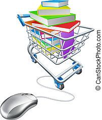 educación en línea, o, internet, libro, compras