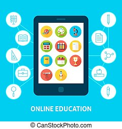 educación en línea, tableta, concepto