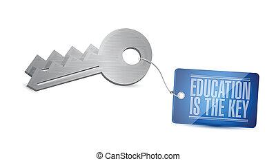 educación, es, el, llave, concepto, ilustración, diseño