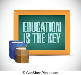educación, es, el, llave, señal, ilustración, diseño
