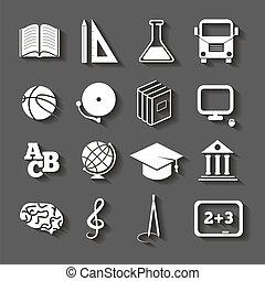 educación, escuela, iconos, en, fondo gris