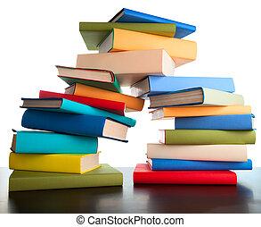 educación, estudio, libros, pila, libros