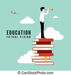 educación, futuro, visión
