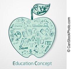 educación, garabato, concepto