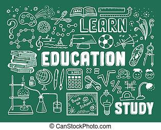 educación, garabato, elementos