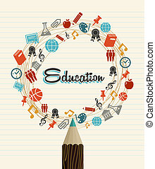 educación, global, iconos, back to la escuela, pencil.
